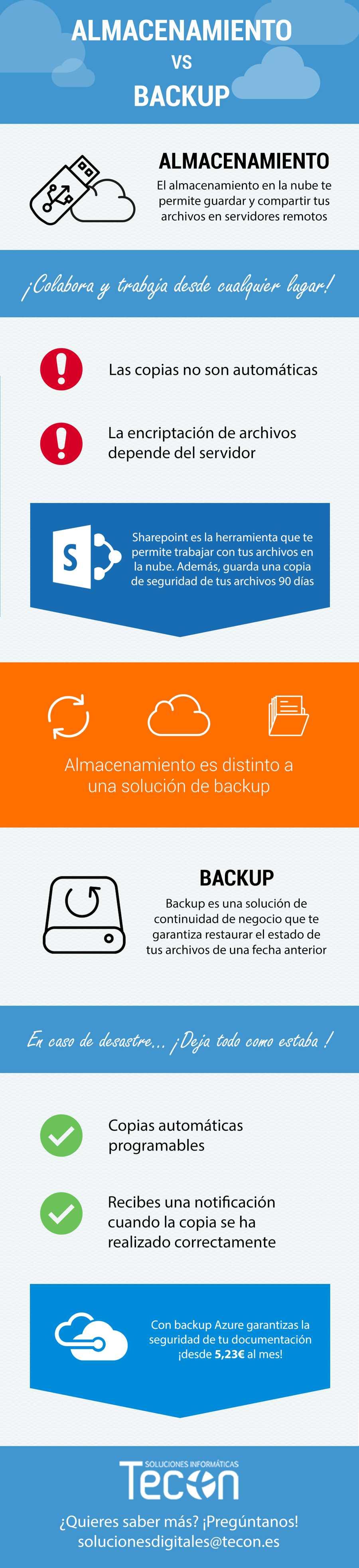 diferencias almacenamiento y backup