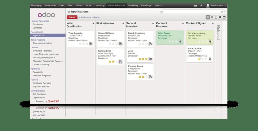 sistema de gestión empresarial Odoo (flexible)