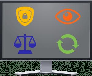 Iconos de seguridad, monitorización, cumplimiento y continuidad