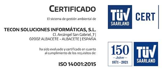 Certificado ISO 14001 - Tecon Soluciones Informáticas