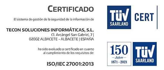 Certificado ISO 27001 - Tecon Soluciones Informáticas