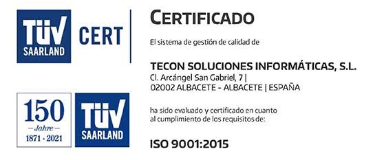 Certificado ISO 9001 - Tecon Soluciones Informáticas