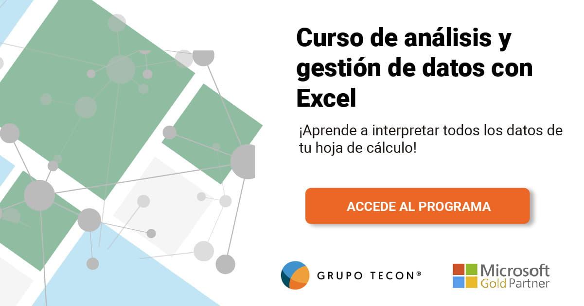 Temario curso de análisis y gestión de datos con Excel